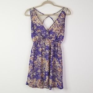 Purple and tan lace sleeveless dress